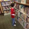 Picking out books at our town