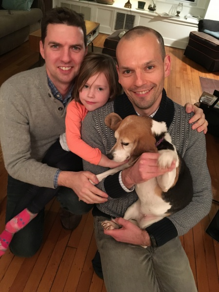 Hanging at home with our niece Elise and our dog Elle