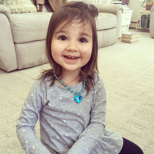 Aria loves her necklace from GG (great grandma)