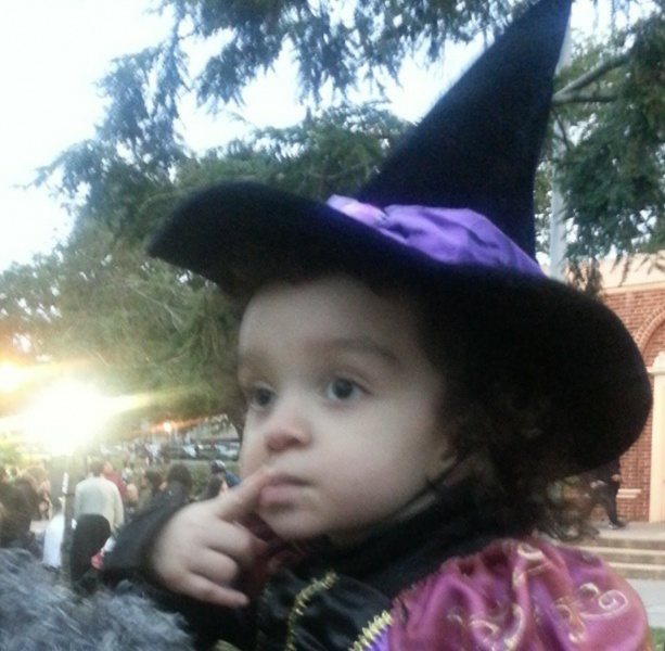 Olivia in the park on Halloween; a favorite Halloween tradition