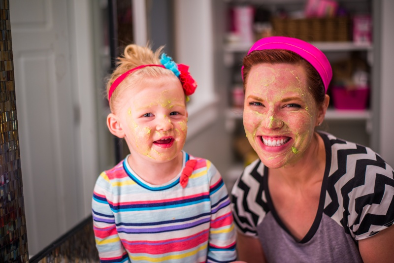Amy was trying a homemade avocado mask...and of course this little girl had to try one too!!