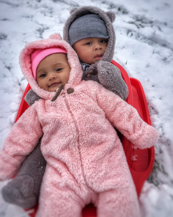 Daughter and son snow