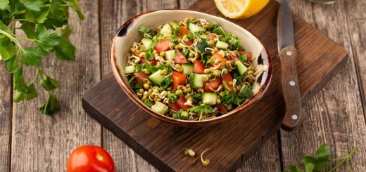 Sprouted Mung Bean & Kale Salad with Chili Lime Sesame Dressing