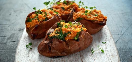 Savory Stuffed Sweet Potatoes with White Beans and Kale