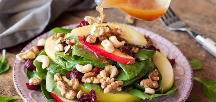 spinach-walnut-cashew-apple-salad
