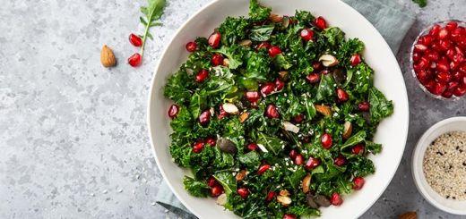 Pomegranate, Kale, And Almond Salad With A Lemon Vinaigrette