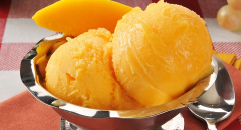 Mango Sorbet With Banana and Pineapple