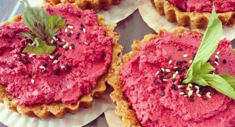 Raw Beetroot and Rosemary Tarts