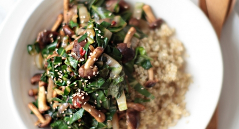 Shiitake Tempeh and Kale Stir-Fry