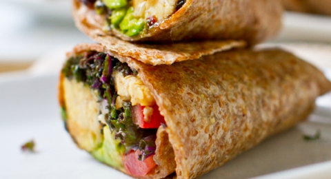 Kale Avocado Wraps with Spicy Miso Dipped Tempeh