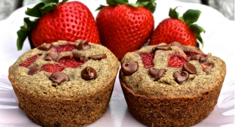 Strawberry Chocolate Chip Buckwheat Muffins