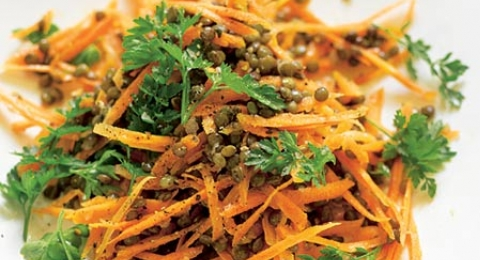 Green Lentil Salad With Spiced Carrots