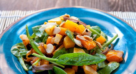 Hearty Fall Salad with Roasted Garlic Dressing