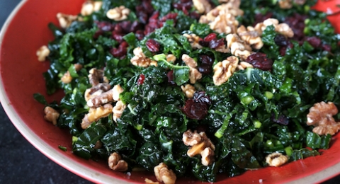 Kale Salad with Pear, Hazelnuts & Cranberries