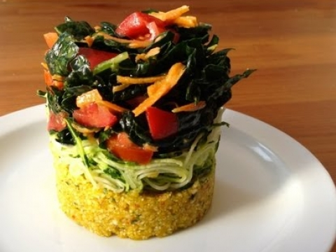 Kale Salad with Spicy Yellow Couscous