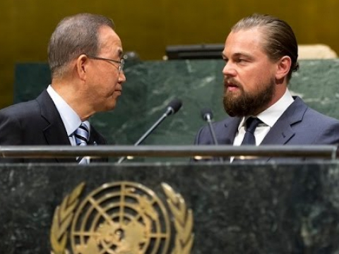 Leonardo DiCaprio at the opening of Climate Summit 2014