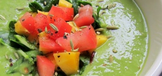 Avocado Fennel Soup with Sweet Mango