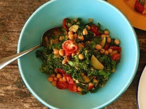 How to make Warm Kale and Chickpea Salad Bondi Harvest