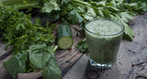 Avocado, Grape, Banana, and Cilantro Green Smoothie