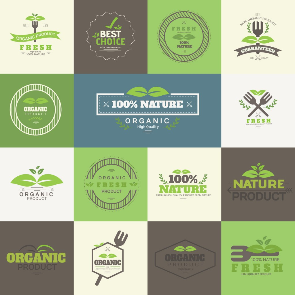 Set of Organic food and Product Badges and label