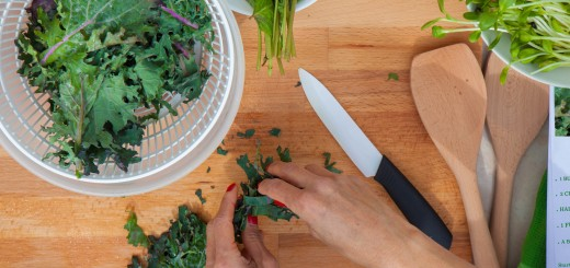 preparing organic ecological veganvegetables kale