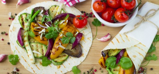 Tortilla and grilled vegetables - zucchini, eggplant, bell peppers, red onions, tomatoes and herbs