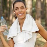 woman-water-towel-forest