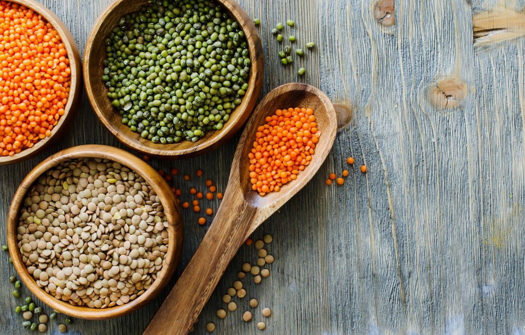 Lentils and moong beans for healthy cooking copy space background