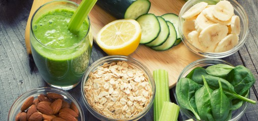 Green fresh healthy smoothie with fruits and vegetables