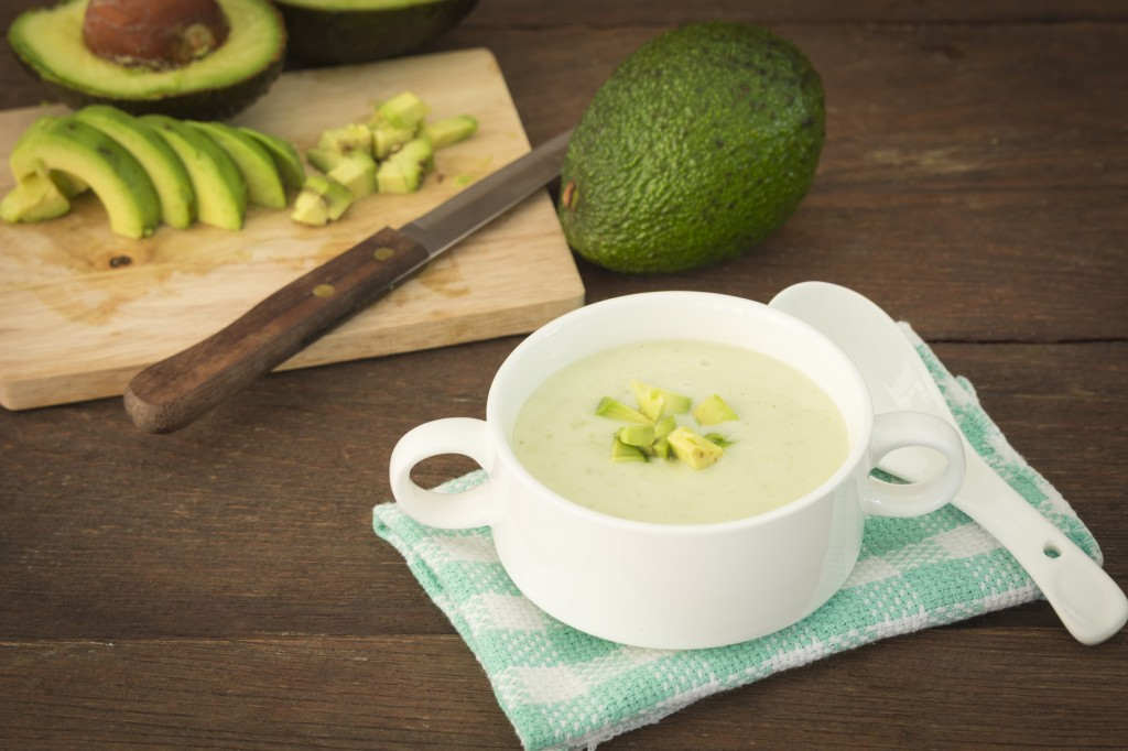 Cream avocado soup with fresh avocado, healthy dietary.