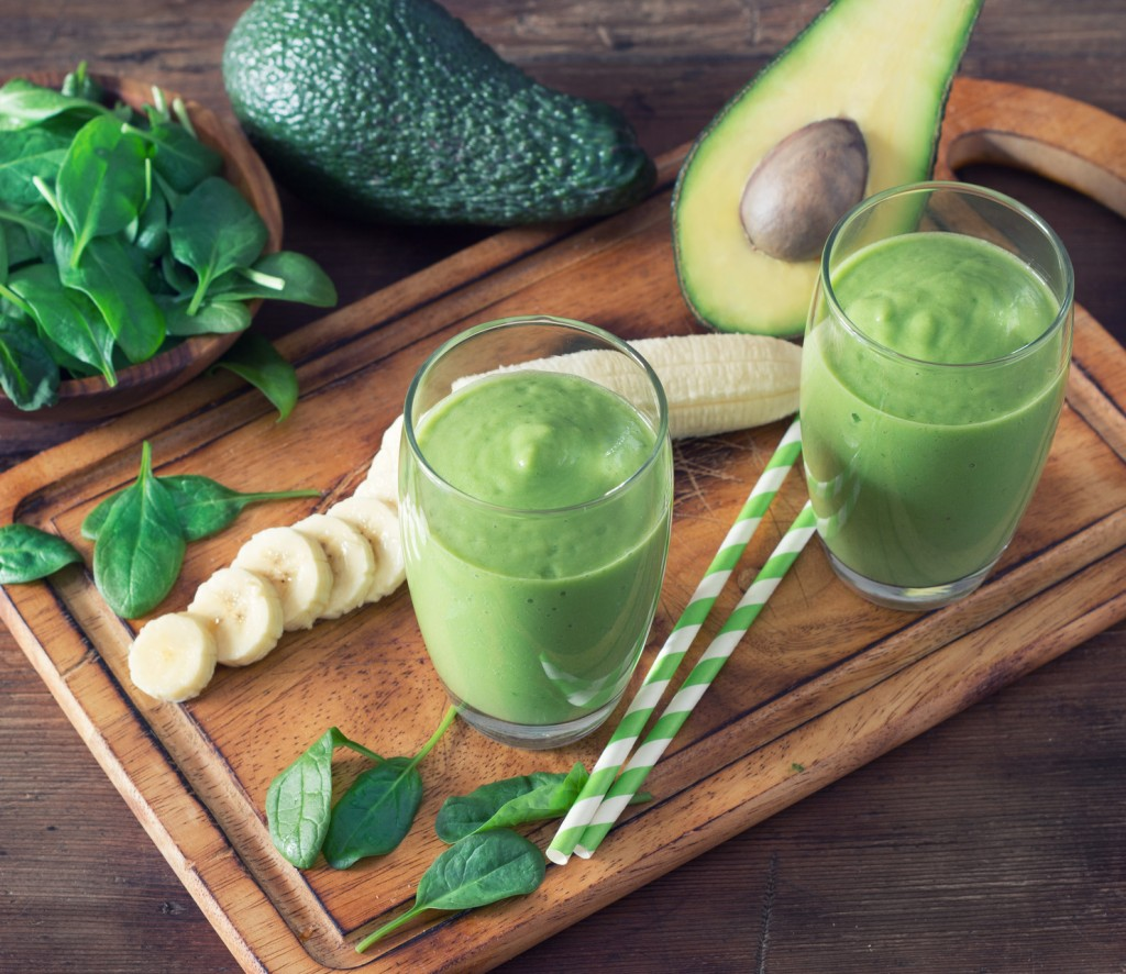 Avocado Smoothie, Made with Fresh Avocados, Spinach, Banana and Non Dairy Milk.