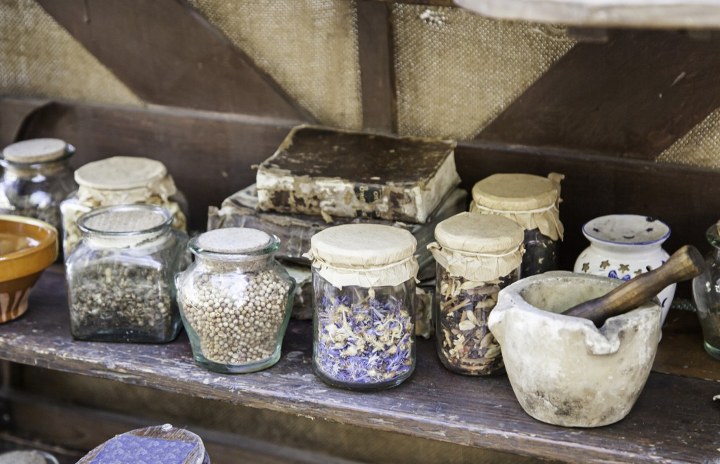 Medicinal herbs, detail of traditional medicine, witchcraft and superstition