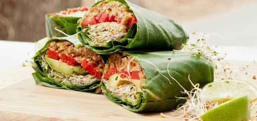 Thai Tempeh Collard Greens Wrap