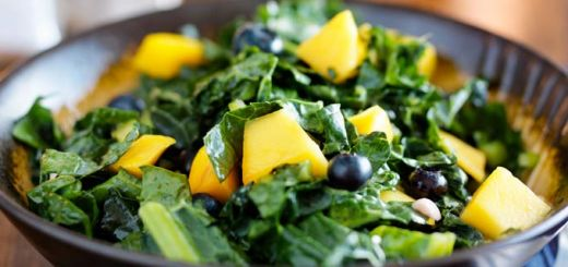 Massaged Kale, Blueberry, & Mango Salad