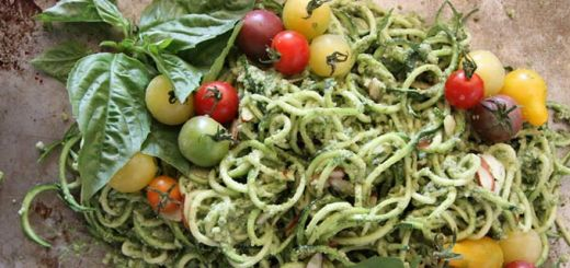 Zucchini Noodles with Basil Almond Pesto