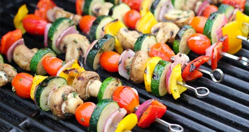 Grilled Vegetable and Mushroom Kabobs