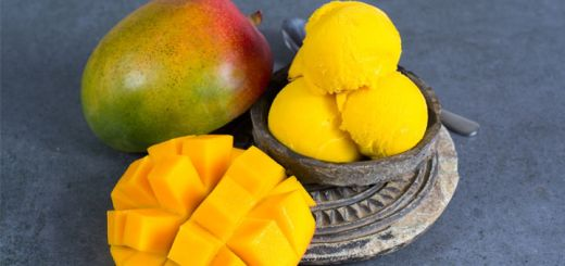 Mango Sorbet with Pineapple and Banana
