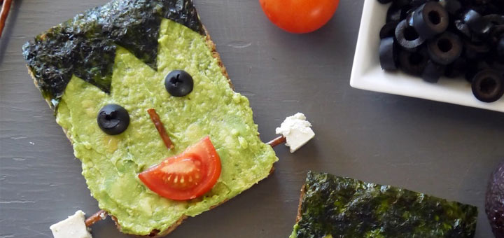 Halloween Food Idea: Frankenstein Avocado Toast
