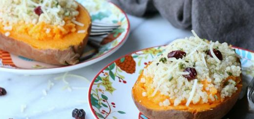 Personal Baked Sweet Potato Boats With Quinoa