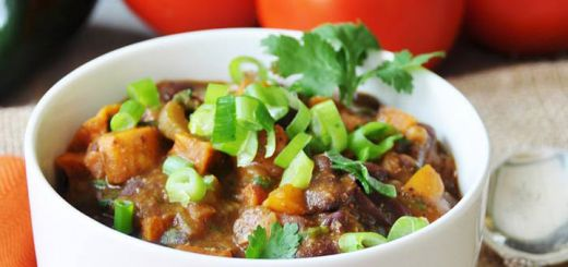 Roasted Sweet Potato Vegan Chili