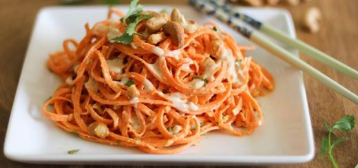 Raw Carrot Pasta With A Ginger Lime Almond Sauce