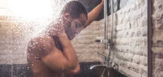 man-showering