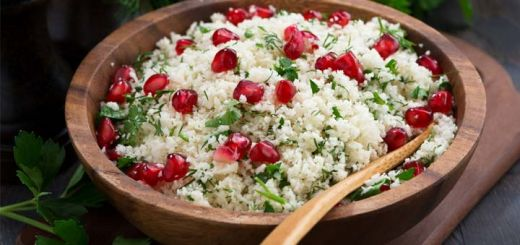 Cauliflower Rice Tabbouleh With Pomegranate Seeds