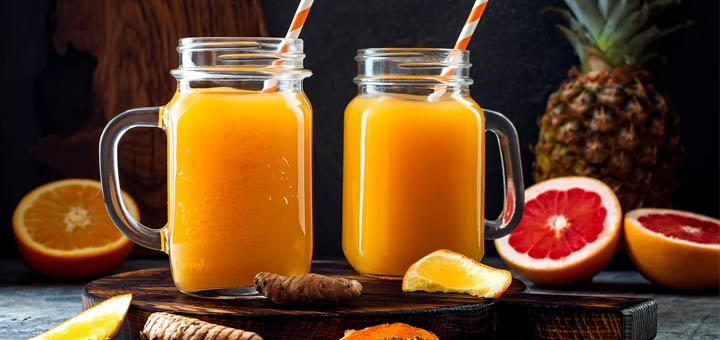 Orange Watermelon Turmeric Juice With Ginger