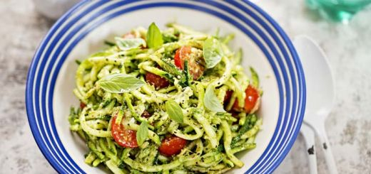 Raw Zucchini Pasta With A Cilantro Pesto