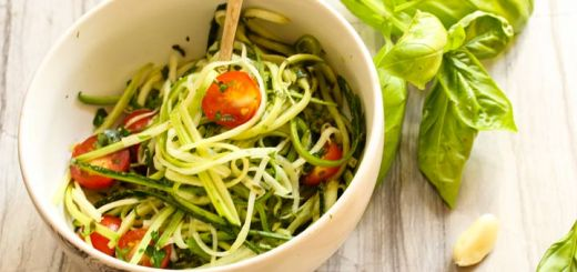 Zucchini Noodles Tossed In A Cheesy Sunflower Seed Sauce