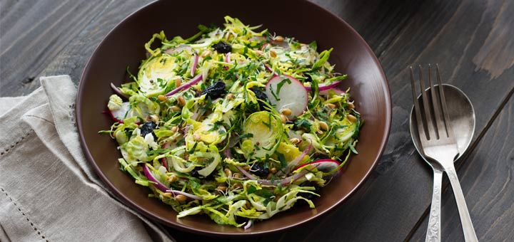 Shaved Brussels Sprouts Salad With A Citrus Dressing