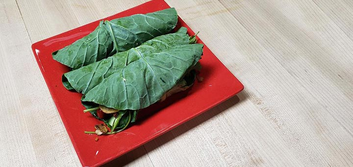 Mushroom Shawarma Collard Wraps With Garlic Spread