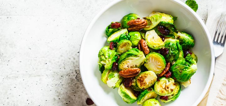 Roasted Brussels Sprouts With Cranberries & Pecans