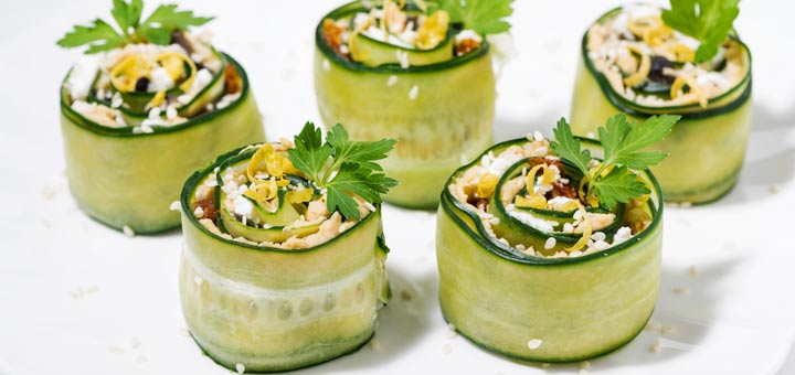 Cucumber Hummus Roll Ups